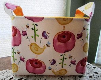 Fabric Organizer Basket Storage Container Box Bin Birds Flowers