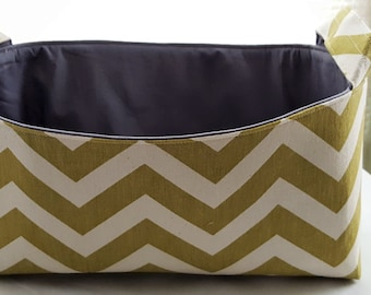 Long Diaper Caddy Storage Container Basket Fabric Organizer Bin - Nursery Decor - Chevron Green Zig Zag