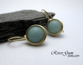 Amazonite Earrings, Gemstone Earrings, 14kt Gold Filled, Wire Wrapped, RiverGum Jewellery