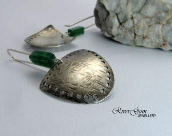 Jade Earrings, Tribal Shield Earrings, Aztec Earrings, Artisan Silver Earrings, Handmade Artisan Metalwork Jewelry