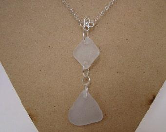 White Sea Glass Necklace - Sterling Silver Sea Glass Jewelry - Beach Glass Pendant