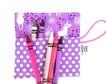 Mini Crayon Roll - Unicorn - mystical creatures, purple, party favor, crayon wallet, coast prance tula