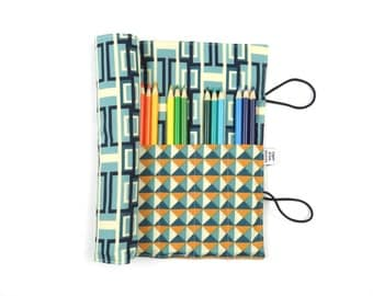 Pencil Roll - Splendor -  masculine pencil case, adult coloring, Bible journal accessory, animal colored pencil roll