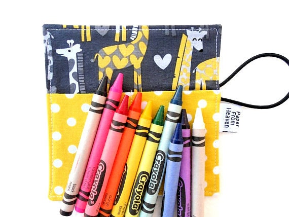 Mini Crayon Roll - Giraffe Love - spotted love tula small crayon wallet, animal party favor, giraffe party, birthday party gift