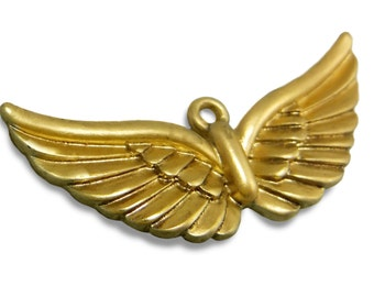 2 pcs Gold Wing Charms Steampunk Double Wings Cast Antique Gold Casting M-112