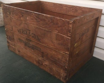 Antique Wooden Merck Crate.