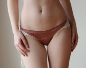 stretch silk panties with embroidered lace trim - ALICE silk charmeuse with spandex bridal range - made to order