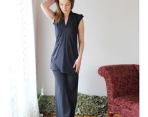 organic cotton tunic with v neck and petal sleeves - HESTER - sleepwear and lingerie range - made to order
