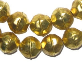 45 Faceted Aluminum Gold Color Beads - Faceted Metal Beads - Hollow Brass Beads - Faceted Gold Beads - Light Weight Metal (MET-FCT-GLD-102)