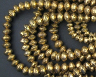 7 Strands - Assorted Brass Mali Bicone Beads (RESERVED)