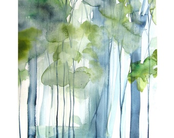 60% Off SALE - New Growth - Landscape Painting - Art Watercolor - Trees  in Green - Large Print 16x20 - Poster - Wall Art - Wall Decor