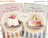 30% OFF SALE - Shabby Cream Patisserie Cards - Large Images - Backgrounds - 5x7 inch - Digital Print - Ephemera Sheet - Tote, Bags, t-shirts