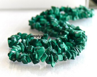 Natural Malachite Gemstone Chip Beads 16-Inch Strand