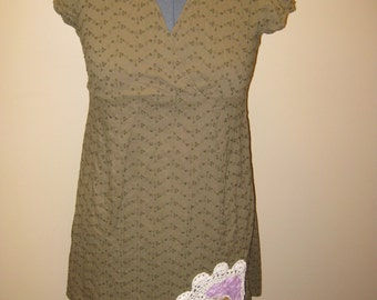 Olive Green Mori Girl Upcycled Dress