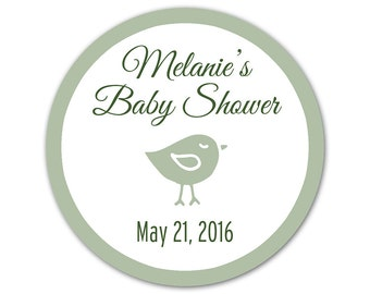 Custom Baby Shower Stickers - Favor Labels - Personalized Stickers - Baby Bird Labels - Baby Shower Favor Stickers - Choose Your Colors