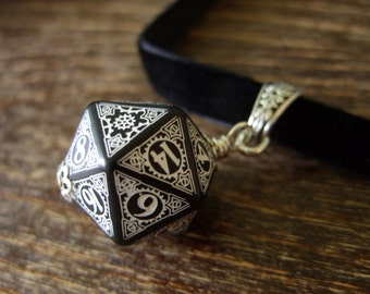 dice choker D20 steampunk dice pendant D20 dice choker steam punk dice necklace steampunk jewelry dnd rpg geek dungeons and dragons choker