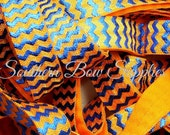NEW----5/8 inch wide FOE Fold Over Elastic----1 Yard----Royal Blue on Tangerine----Foil Chevron---USA Designer