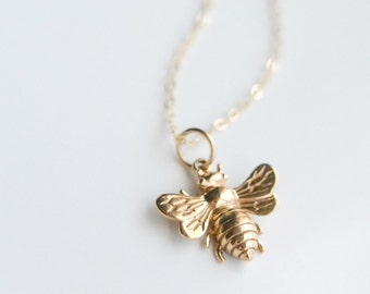 Bee Necklace - Layering Necklace - Gold Bumble Bee Necklace - Honey Bee Necklace - Casual Everyday Jewelry - Minimalist Necklace