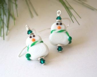 Green Snowman Earrings, Lampwork Glass Dangle, Festive Holiday Jewelry, Stocking Stuffer, Snowman Earrings, Winter Earrings