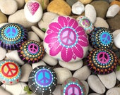 Special Outdoor Daisy Peace Rock with a bag of Peace Rocks