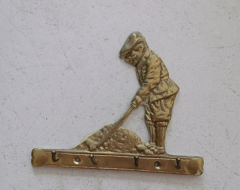 Vintage Brass Golfer Key Rack Wall Hook Fathers Day Golf