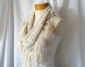 White and gold triangle scarf Fringe ladies shawl Neutral knits spring accessory Prom night fringe bib Evening party wrap Fuzzy sparkle wrap