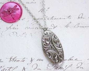 Silver Ornate Vintage Style Oval Keepsake 2 Photo Locket on Standard or Y Style Necklace