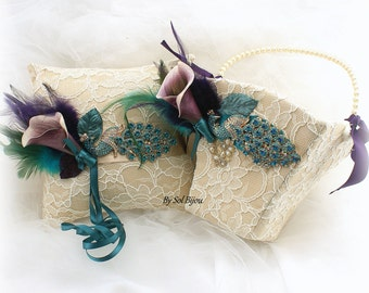 Wedding Ring Pillow, Flower Girl Basket, Peacock, Champagne, Teal, Turquoise, Purple, Gold, Vintage Wedding, Lace Pillow, Lace Basket,Pearls