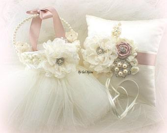Ring Bearer Pillow, Flower Girl Basket, Ivory, Rose, Blush, Vintage Wedding, Tutu Basket, Tulle Skirt, Elegant, Satin Pillow, Pearls