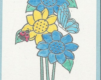 Flower Trio Tag-Set of 5