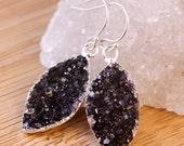 50% OFF Black Druzy Leaf Earrings - Marquise Earrings - Leaf Jewelry