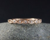 VALENTINES DAY SALE Diamond Rose Gold Wedding Band – 14K Rose Gold - Miligrain Leaf and Round Shape