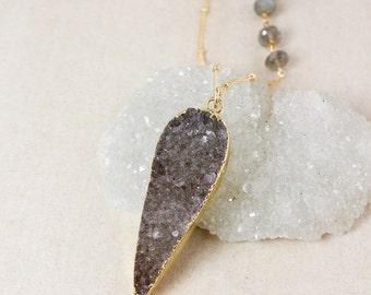 ON SALE Grey Teardrop Druzy Necklace – Choose Your Druzy – Blue Labradorite