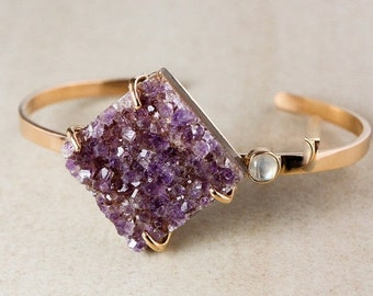 20% OFF Purple Druzy Statement Bangle – Blue Labradorite – 925 Sterling Silver w/ Rose Gold Plating