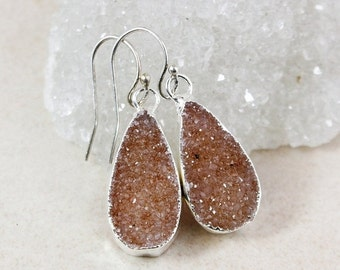 50 OFF SALE Ethereal Teardrop Druzy Earrings - Choose Your Druzy - Silver