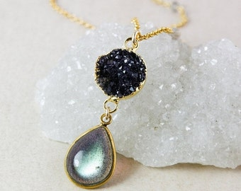 40 OFF SALE Blue Labradorite Necklace – Black Druzy – Blue Labradorite Chain