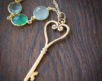 40 OFF SALE Gold Skeleton Key Necklace - Green Onyx, Aqua Chalcedony, Teal Quartz - Layering Necklace