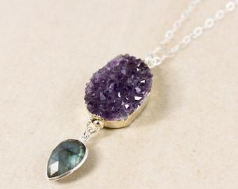 Silver Purple Amethyst Druzy Crystal & Blue Labradorite Necklace - Boho Jewelry