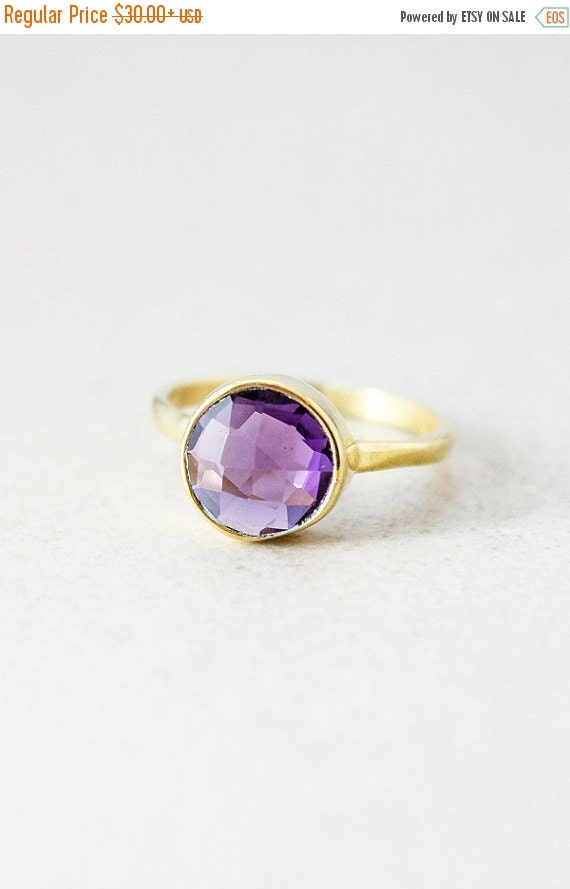 LABOR DAY SALE Gold Purple Amethyst Ring - Gemstone Ring, Stackable ring - February Birthstone Ring