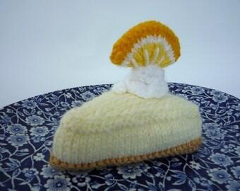 hand knitted slice of Lemon Cheesecake