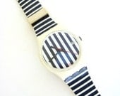 anyone got the time  ....    vintage swatch watch   ...   blue and white stripe