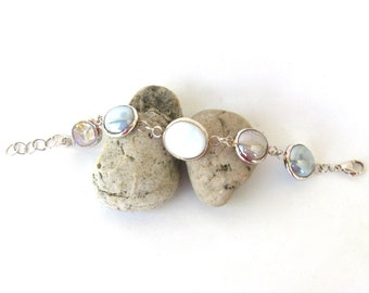 vintage bracelet   ...    sterling silver and glass  ...  beachy modern design