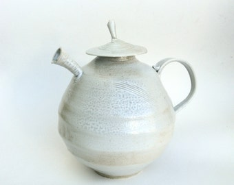 vintage handmade ceramic teapot  ...  modern stoneware tea pot  ...  wood fired abstract vessel