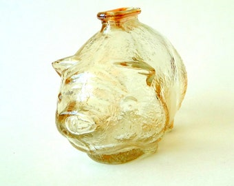 Pig - Piggy Bank - Mid Century - 1950s - Marigold Glass - Carnival - Kitch - Whimsical - Retro - Recycled - Eco Friendly - Gift