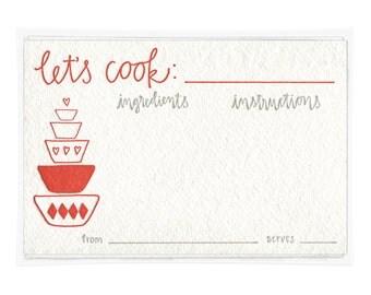 Let's Cook Letterpress Recipe Cards - set of ten