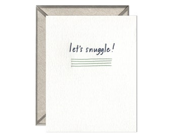 Let's Snuggle letterpress card