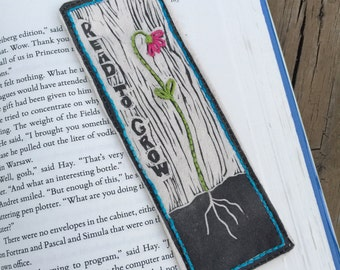 DIY Embroidery Bookmark 'Read To Grow' Print
