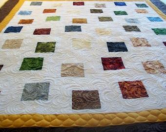 """Modern Quilt, Homemade Quilt, Handmade Quilt, Fall Gems Quilt, 62"""" x 71"""" (157.4 cm x 180.3 cm), READY TO SHIP"""