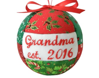 Grandma est. 2016 Handmade Christmas Ornament Holiday Tree Decor First Time Grandma Quilted Ornament Ready To Ship by CraftCrazy4U on Etsy