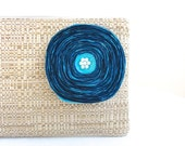 Tan Woven Clutch Handbag with Handmade Aqua Satin Flower - READY TO SHIP